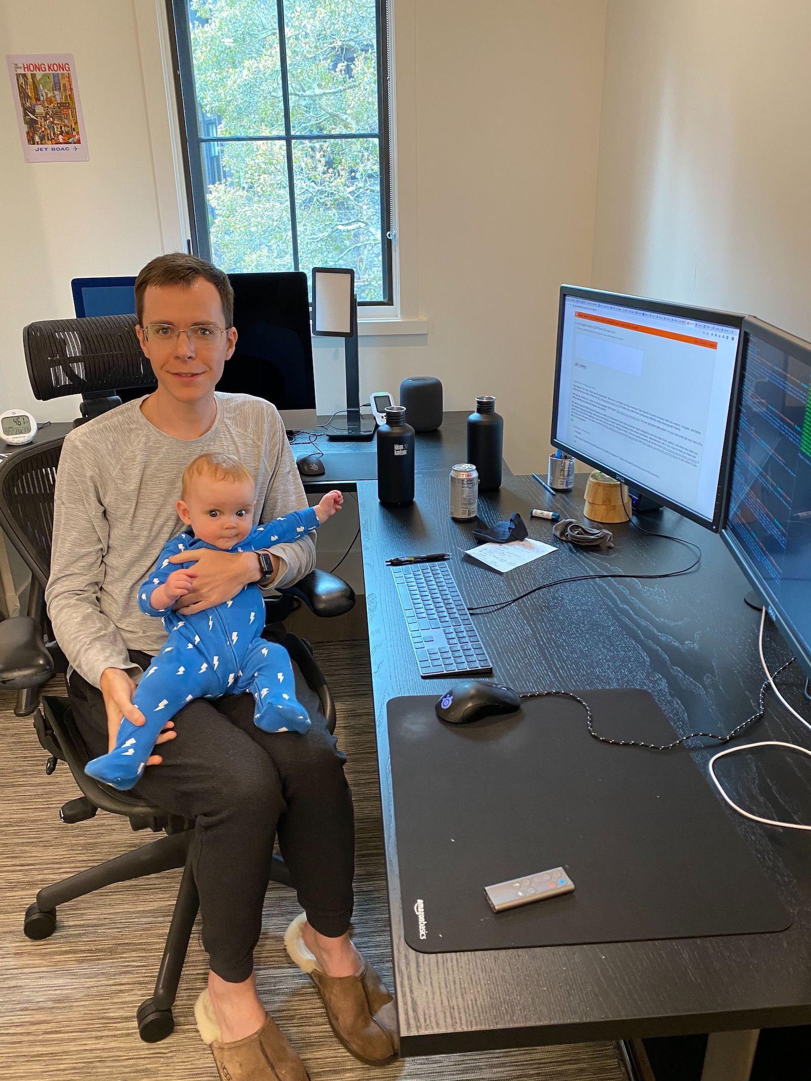 Home office setup of Quinn Slack, CEO