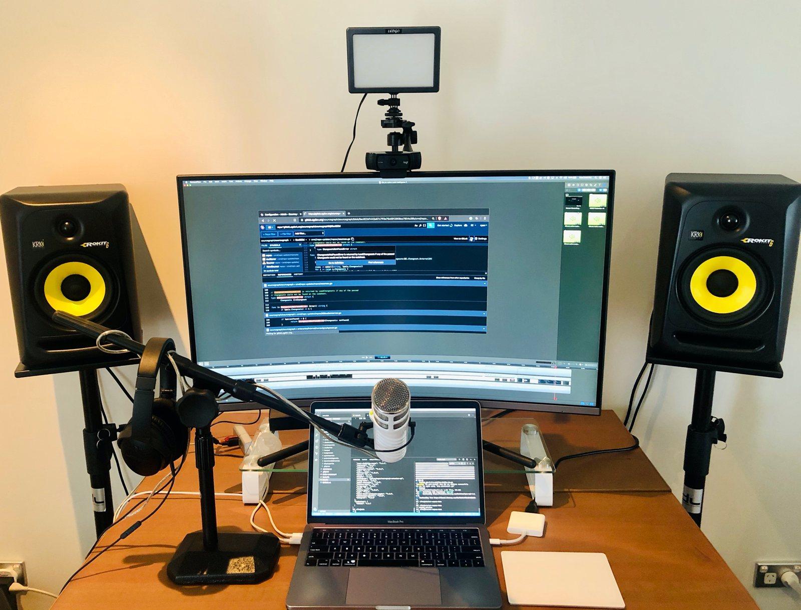 Home office setup of Ryan Blunden, Developer Advocate