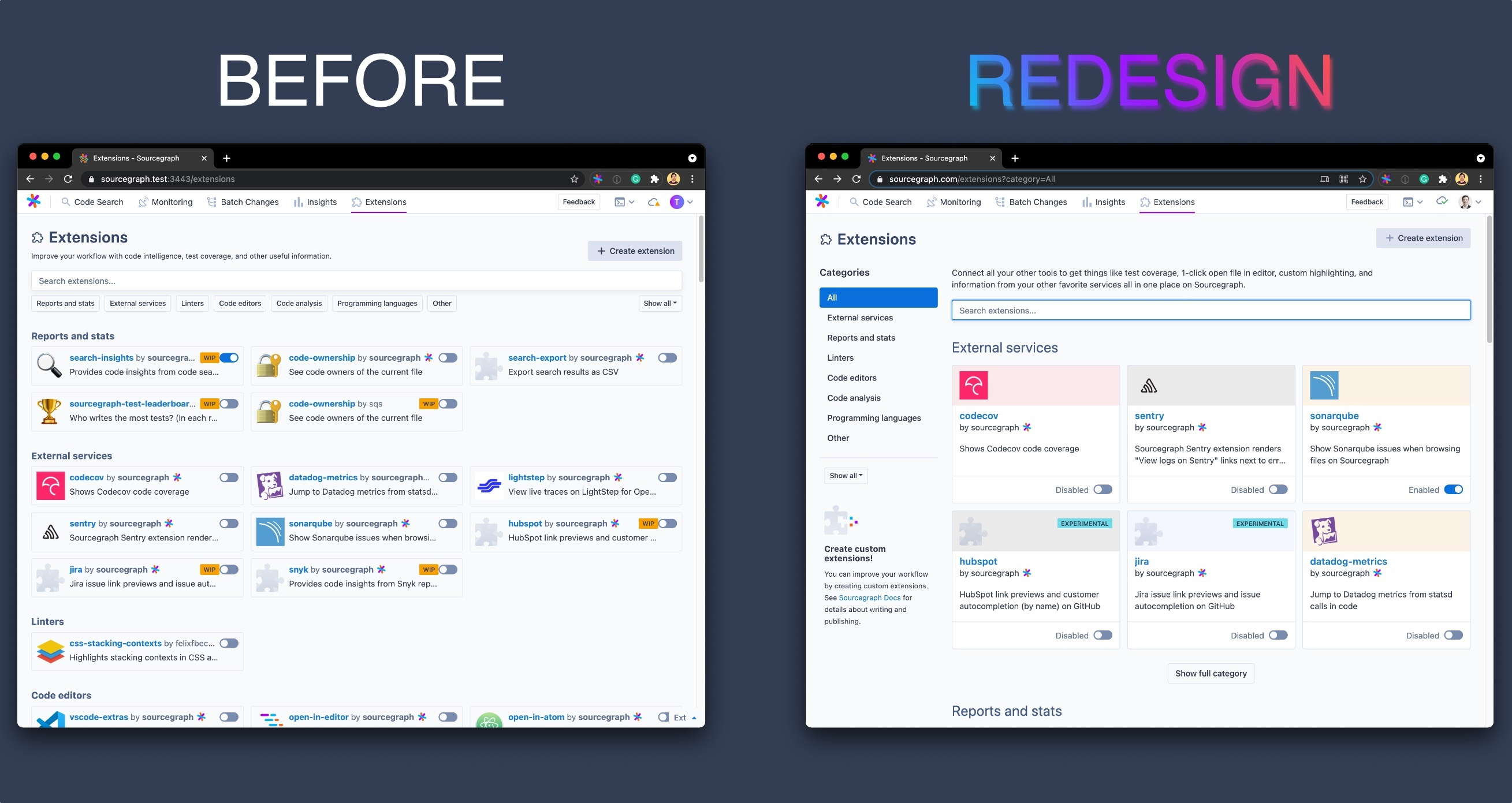 before and after screenshot of the registry redesign