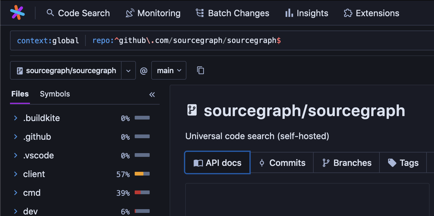 The new API Docs button on repository pages