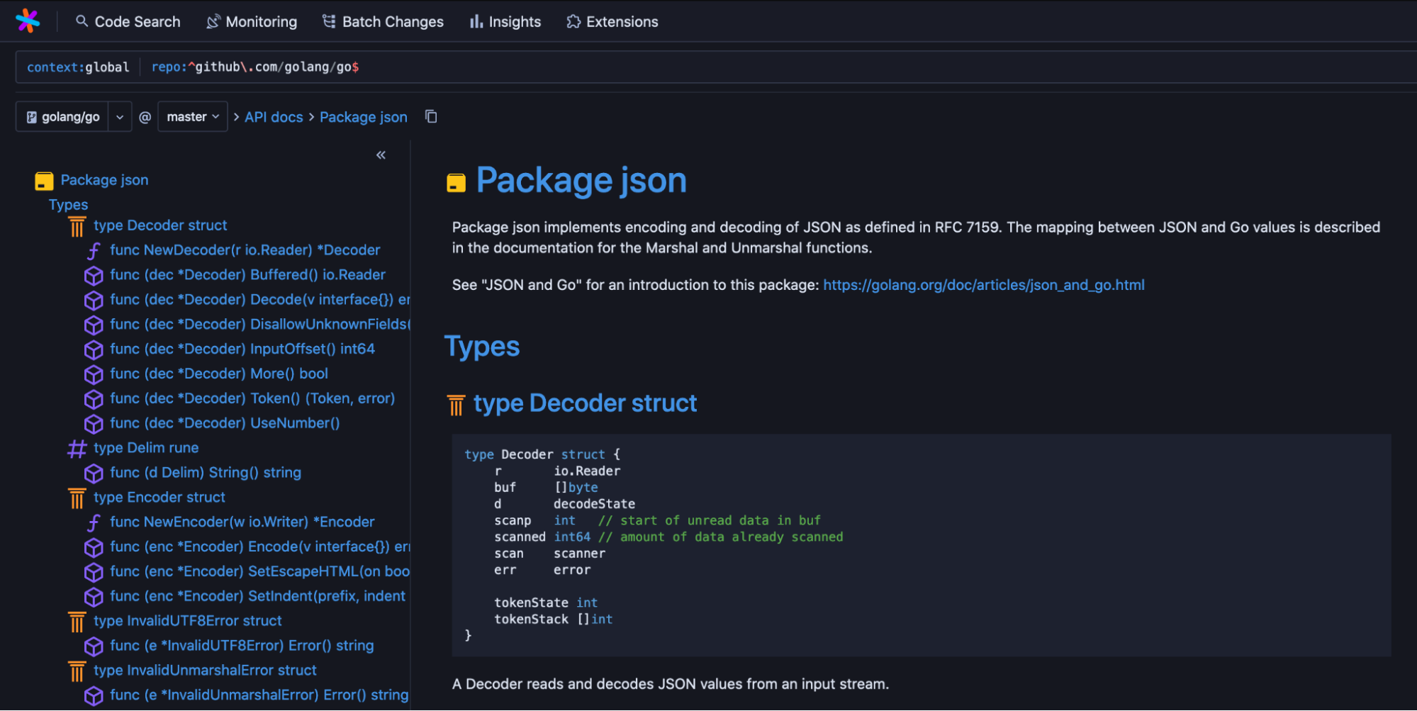 Sourcegraph's new API docs feature