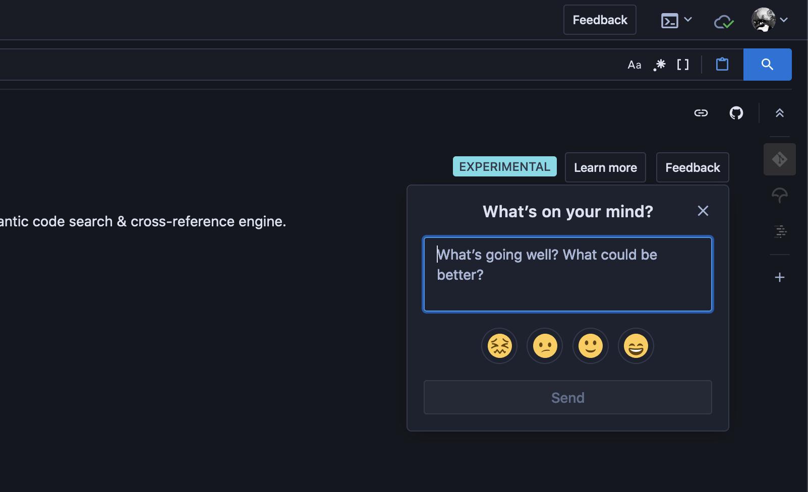 The new feedback widget with various emojis