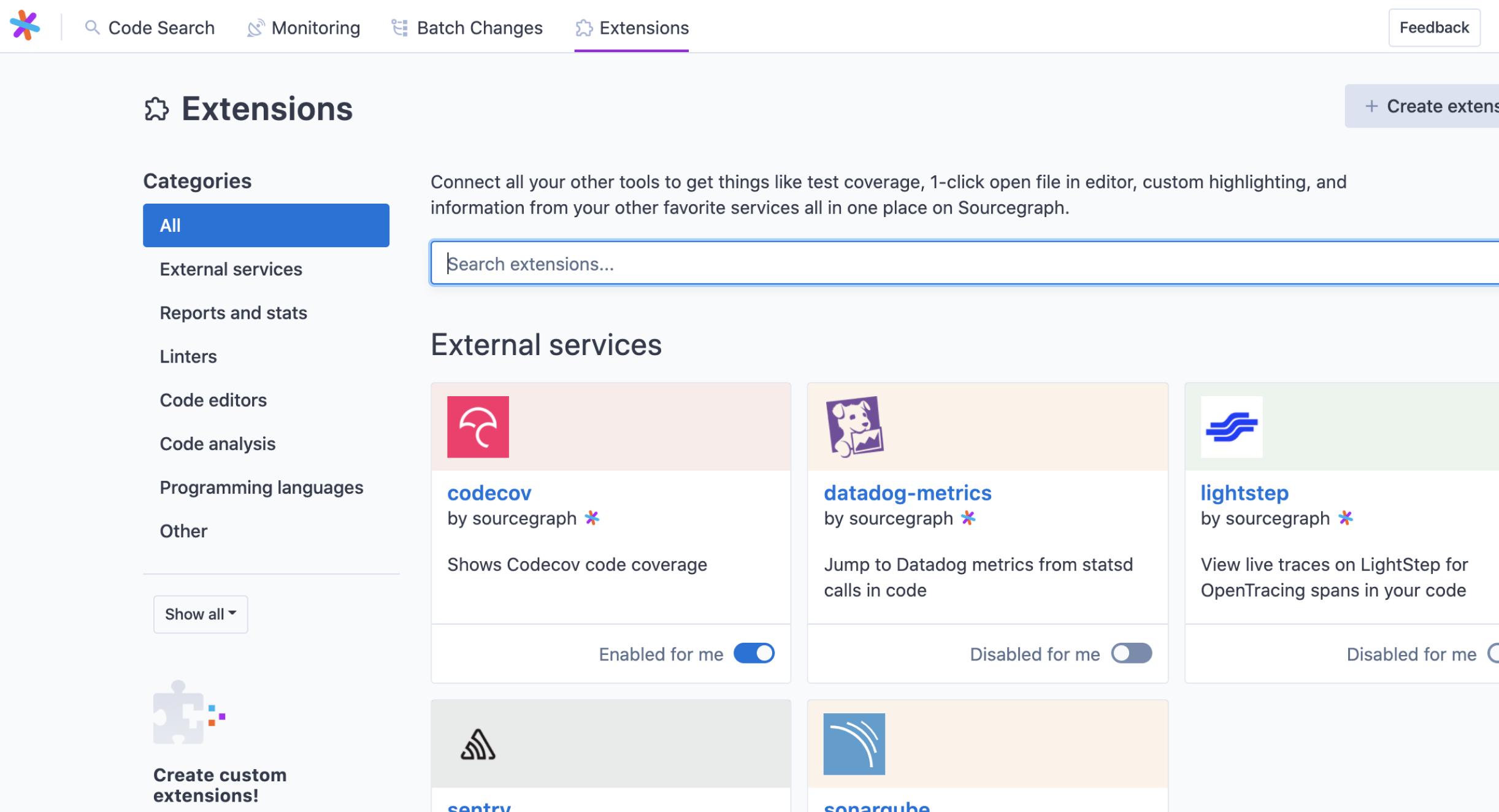 exntensions redesign screenshot