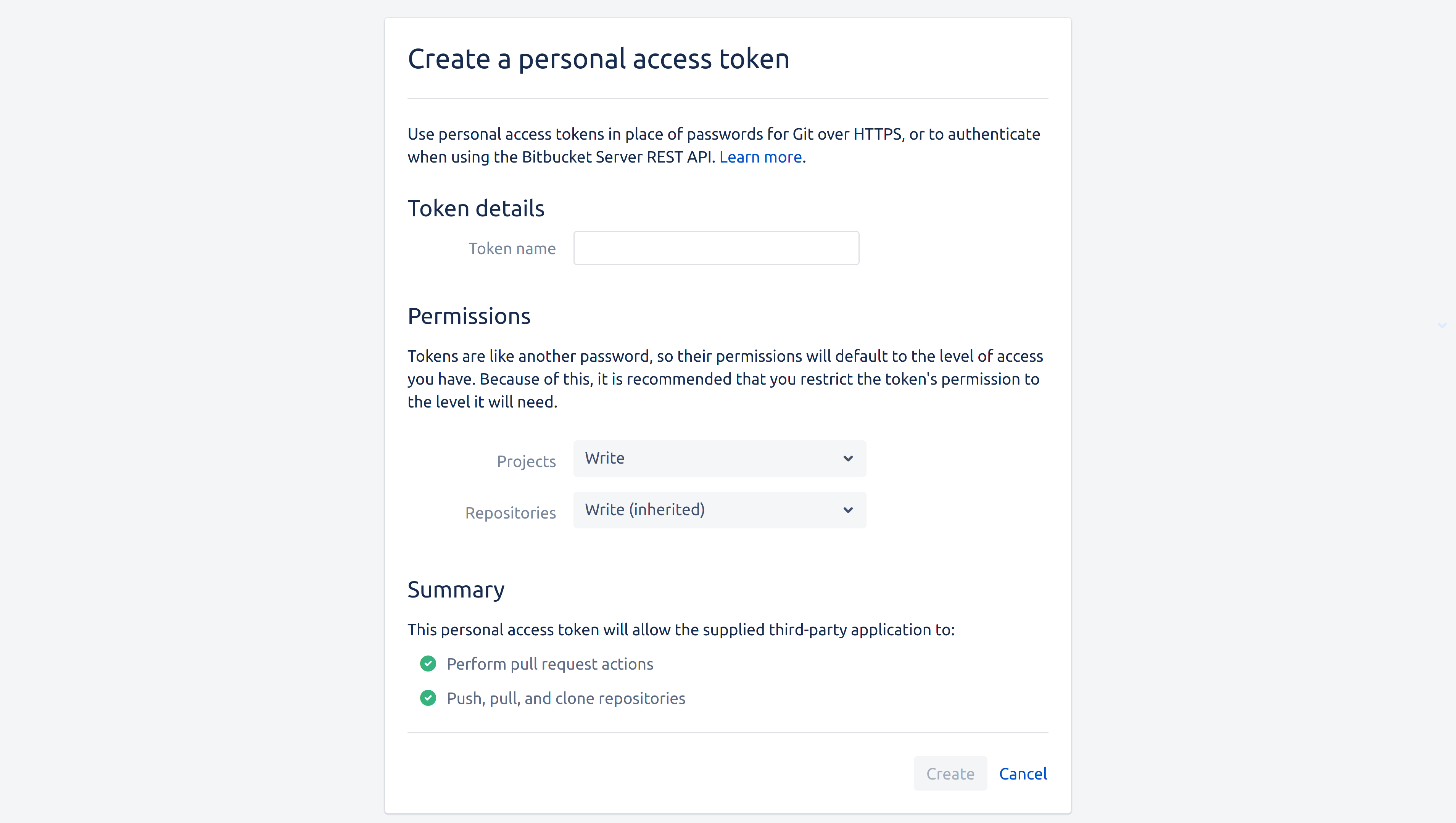 The Bitbucket Server token creation page, with Write permissions selected on both the Project and Repository dropdowns
