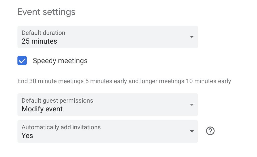 Modifying Google Calendar event settings